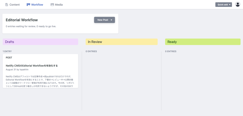 Netlify CMSのEditorial Workflow