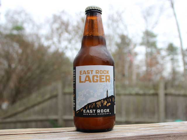 A East Rock Lager brewed by East Rock Brewing Company