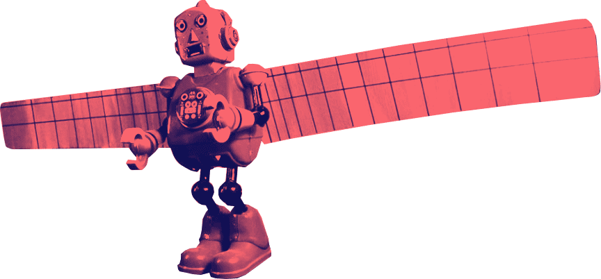 A robot toy transformed into the Angel of the North