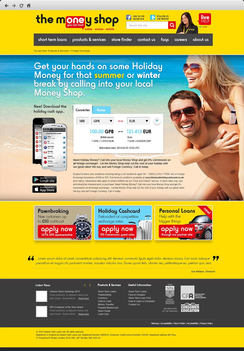 The Money Shop Website Rebrand