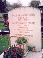 Odette's gravestone at Burvale Cemetery in Walton