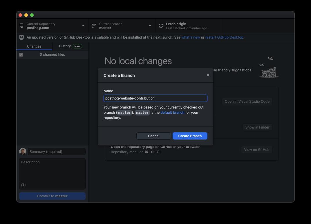 GitHub Desktop - new branch dialog