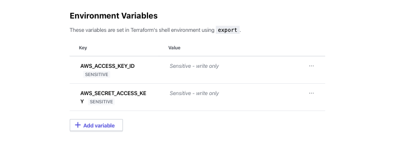 Assign AWS Credentials as Terraform Cloud workspace environment variables.