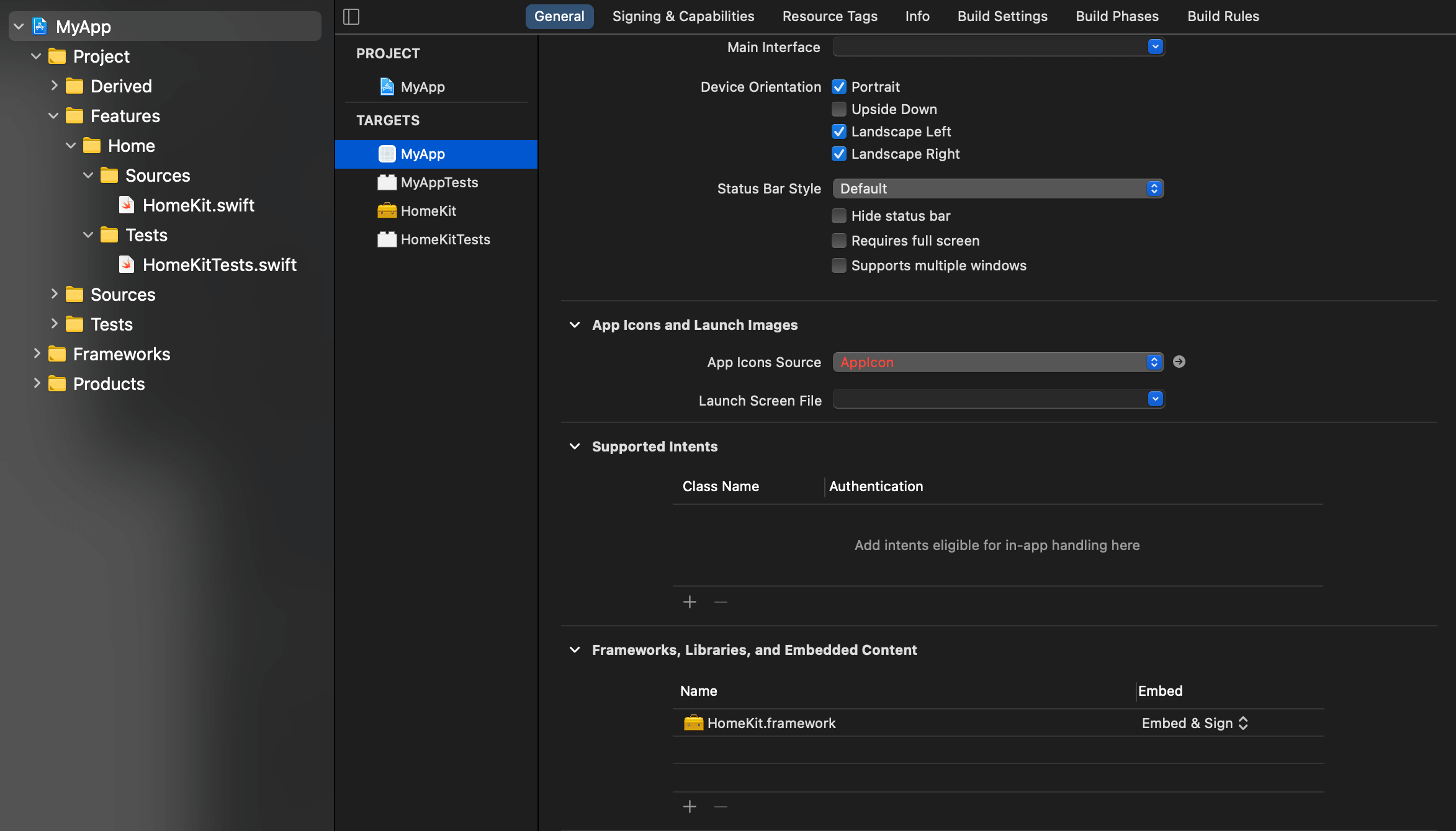 Files and targets are properly added to the project.