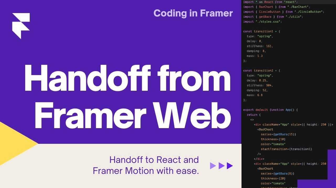 """Title card showing a screenshot of the bank app project and the title """"Handing off to Framer Motion 