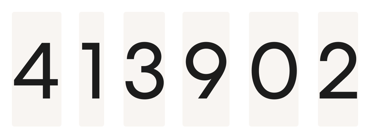 An example showing how each number is a different size