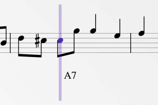 A musical score with a playback cursor on one of the notes.