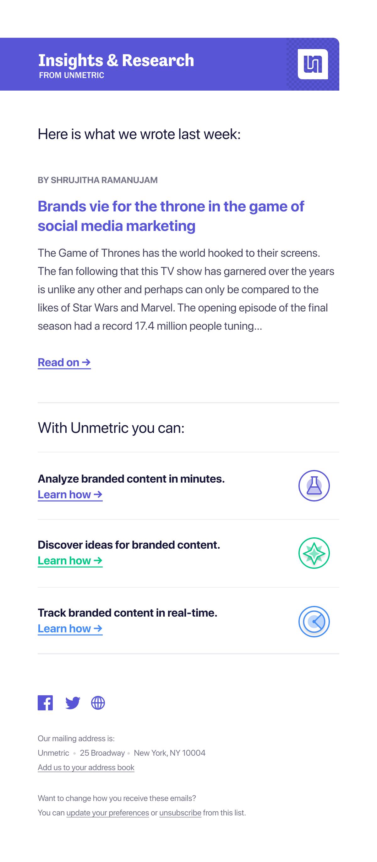 Unmetric Blog Updates  Newsletter