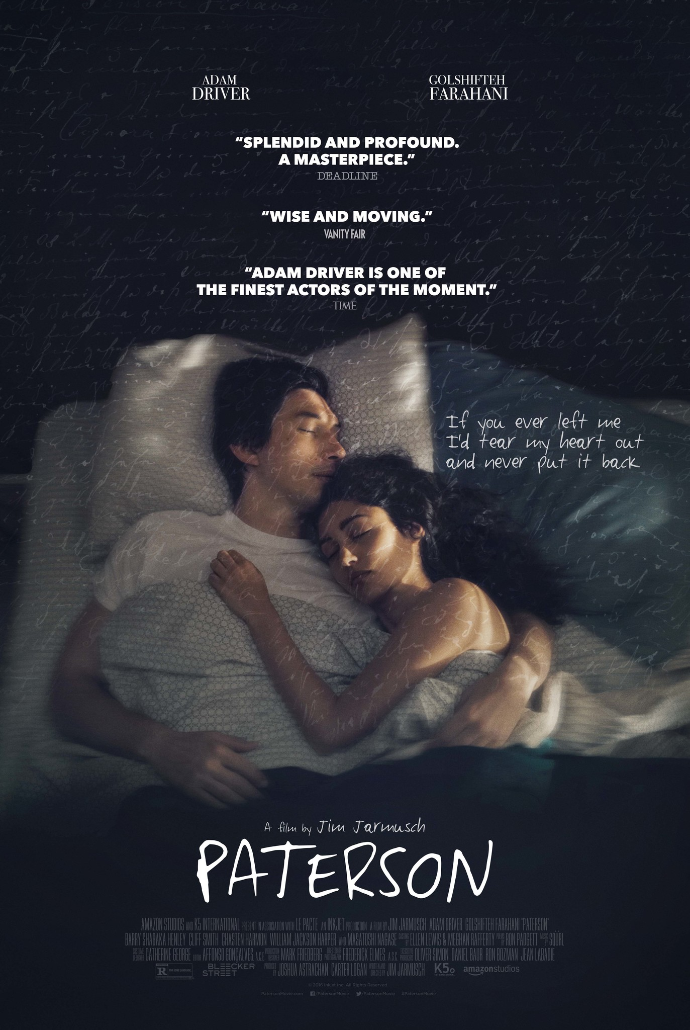 Woman curled up with a man with the title Paterson, by Jim Jarmusch