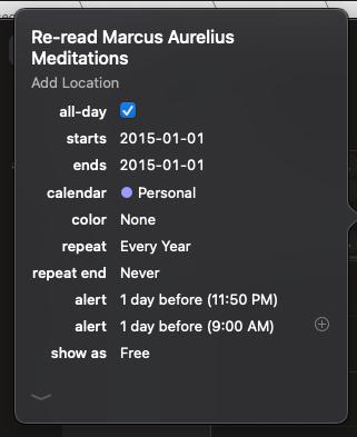 calendar reminder to read marcus aurelius meditations