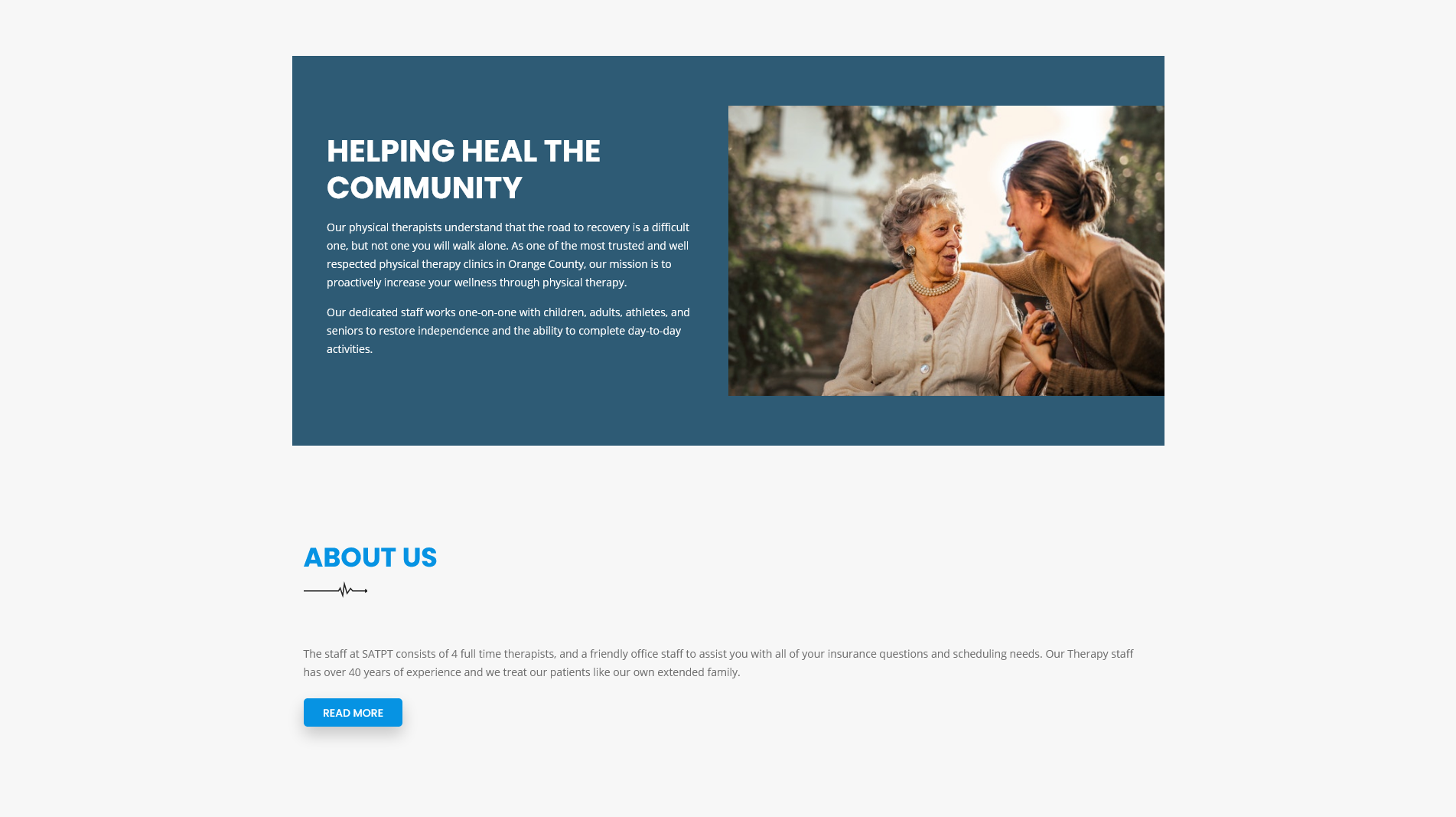 Redesigned Home page screenshot of santa ana tustin physical therapy