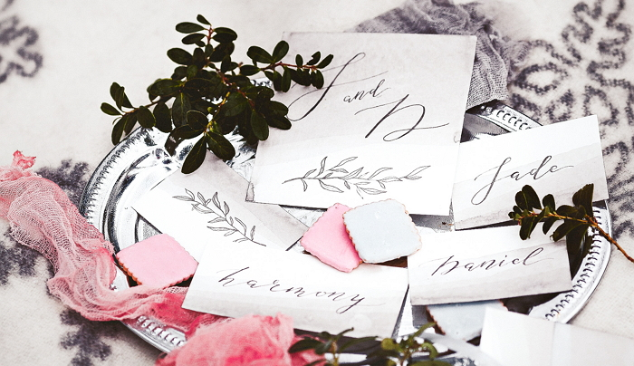 hand painted cards for a winter styled photoshoot. Photo by Irina Skolyarova. item thumbnail