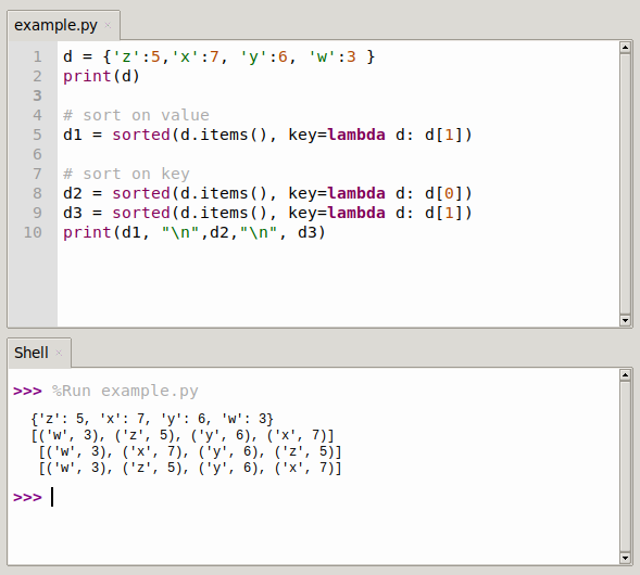 python sort dictionary