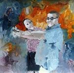 """Merike Estna, Estonia. """"Dancers"""" 2010. Canvas, acrylic, 23x27cm"""