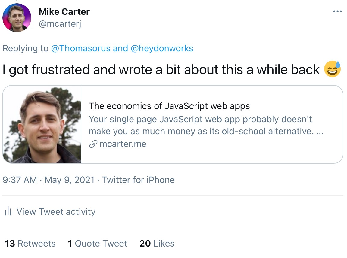 A screenshot of a Tweet I wrote about a blog blog post on this website, showing 13 retweets, 1 quote tweet, and 20 likes.
