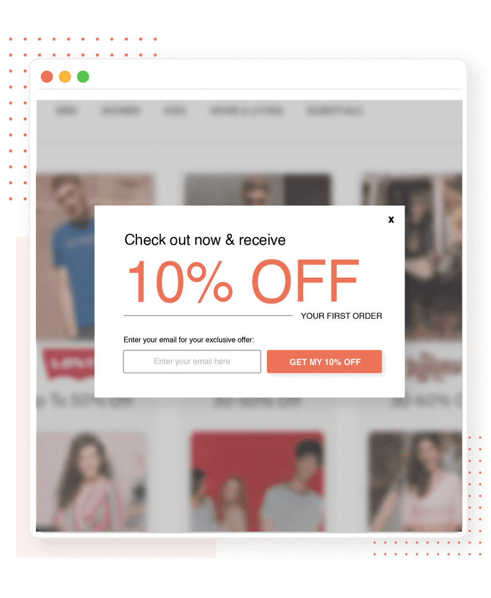 collect emails using popup and coupons