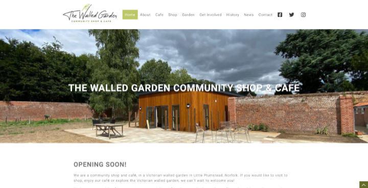 The Walled Garden Shop & Cafe website frontpage