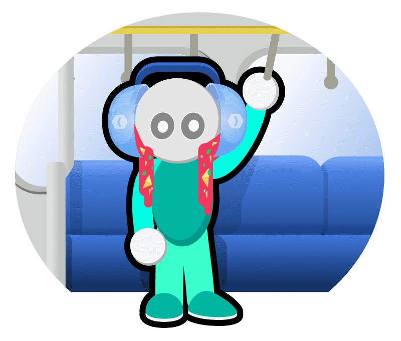 A figure standing inside a train holding the rail with two bowls of soup attached to his head like headphones; the soup is pouring out.