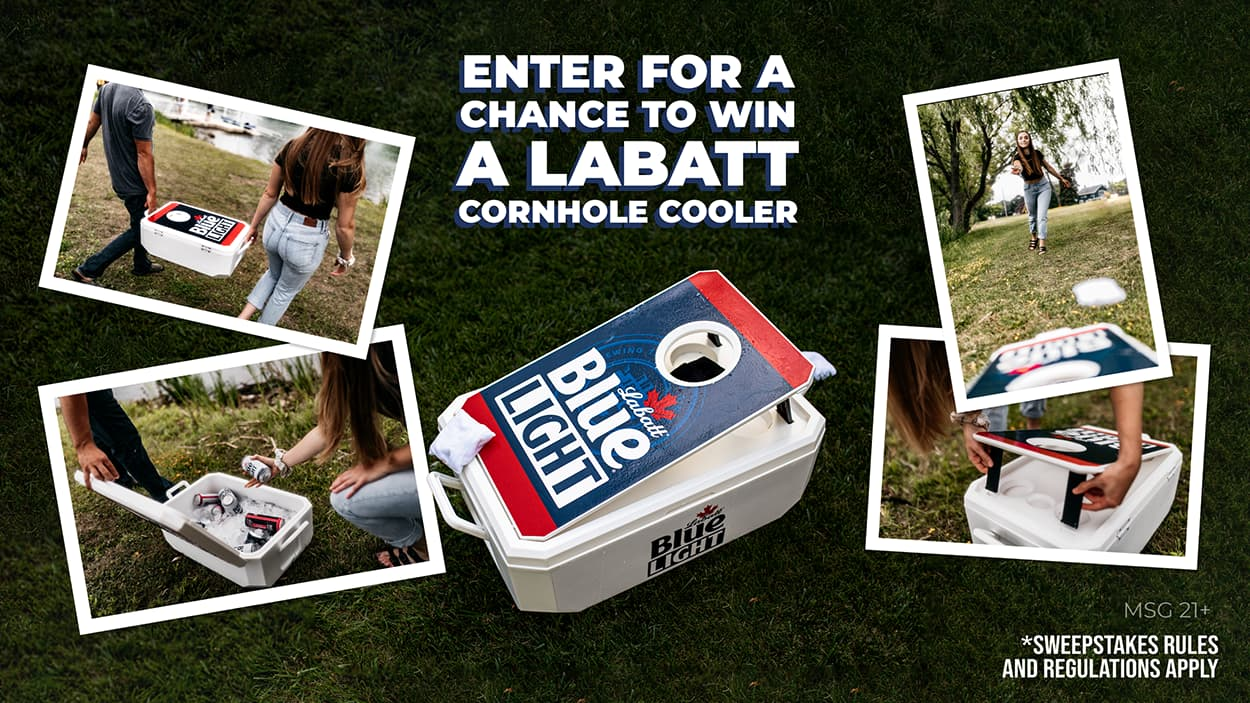 A photo-collage of product shots showcasing the cornhole-cooler the cooler with a built in cornhole board. The shots show a group of friends on an adventure near the water using the cooler and playing cornhole.