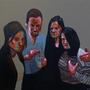 "Olivia Parmasto, Estonia. ""Night out with friends"" 2015. Canvas, acrylic, 68x68cm"
