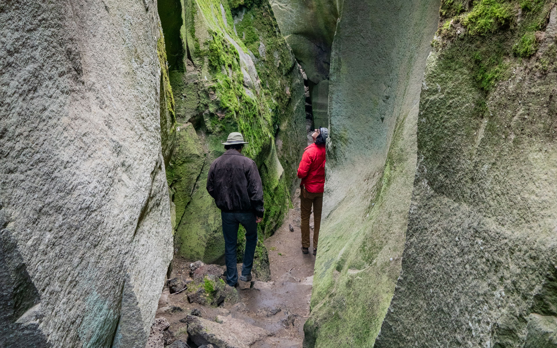 Two men walking in Crack on the Ground in Oregon