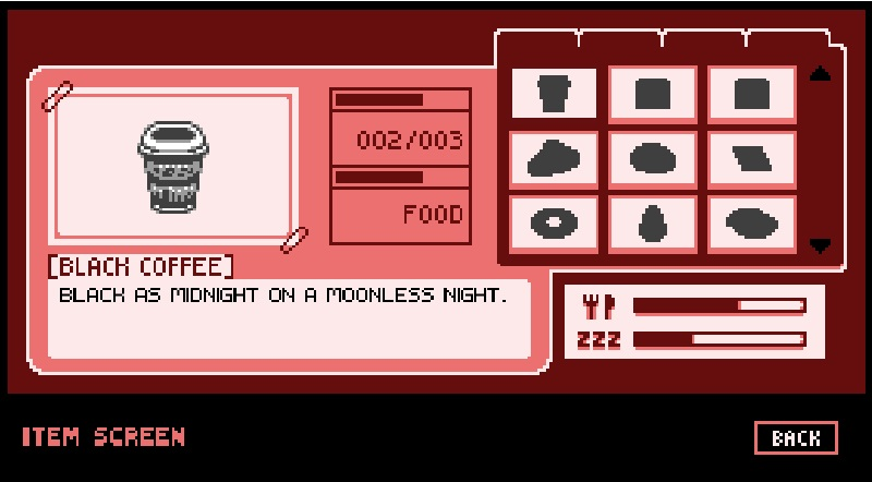 Item screen of friendly premonition. Black coffee is selected. Black as midnight on a moonless night.