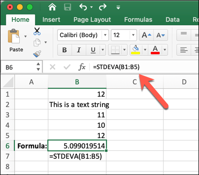 An Excel worksheet with =STDEVA(B1:B5) typed into the formula bar