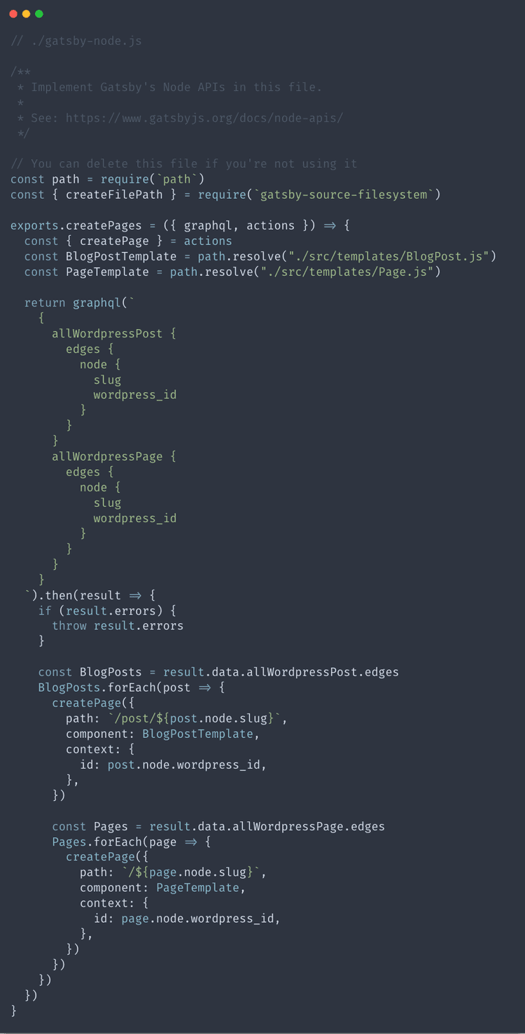 Finished gatsby-node.js file