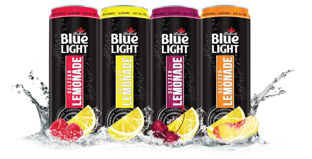 two cans of Labatt Blue Light Seltzer, one flavor Blood-Orange Blackberry, the other Cherry Lime, positioned in front of a 12-pack case of Labatt BLue Light Seltzer Blood-Orange Blackberry