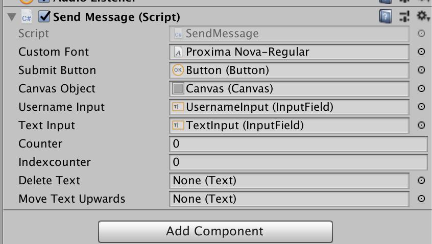 Unity quickstart send message script