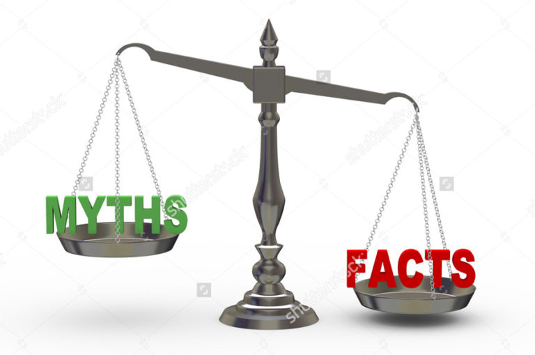 myths and facts weighing on a scale