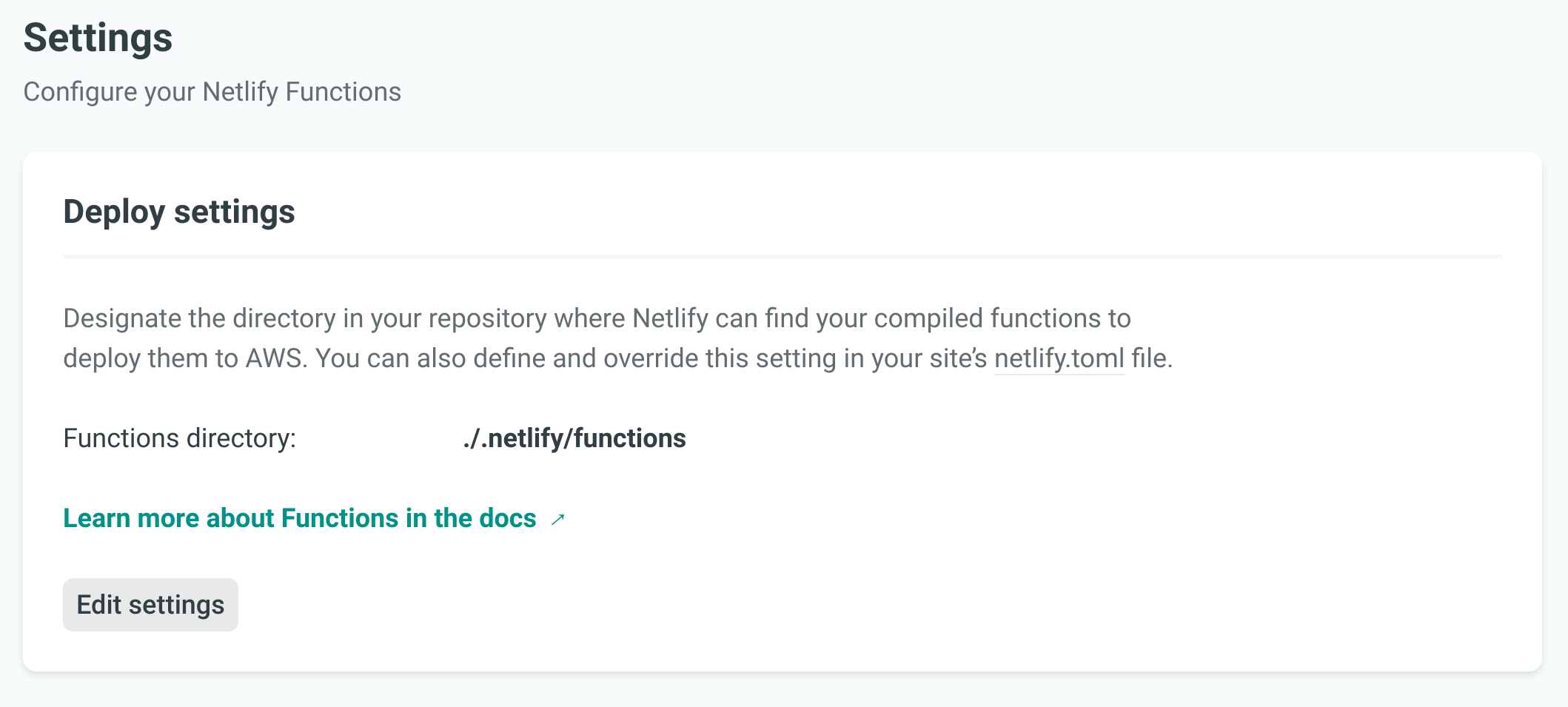 Netlify Functions settings tab