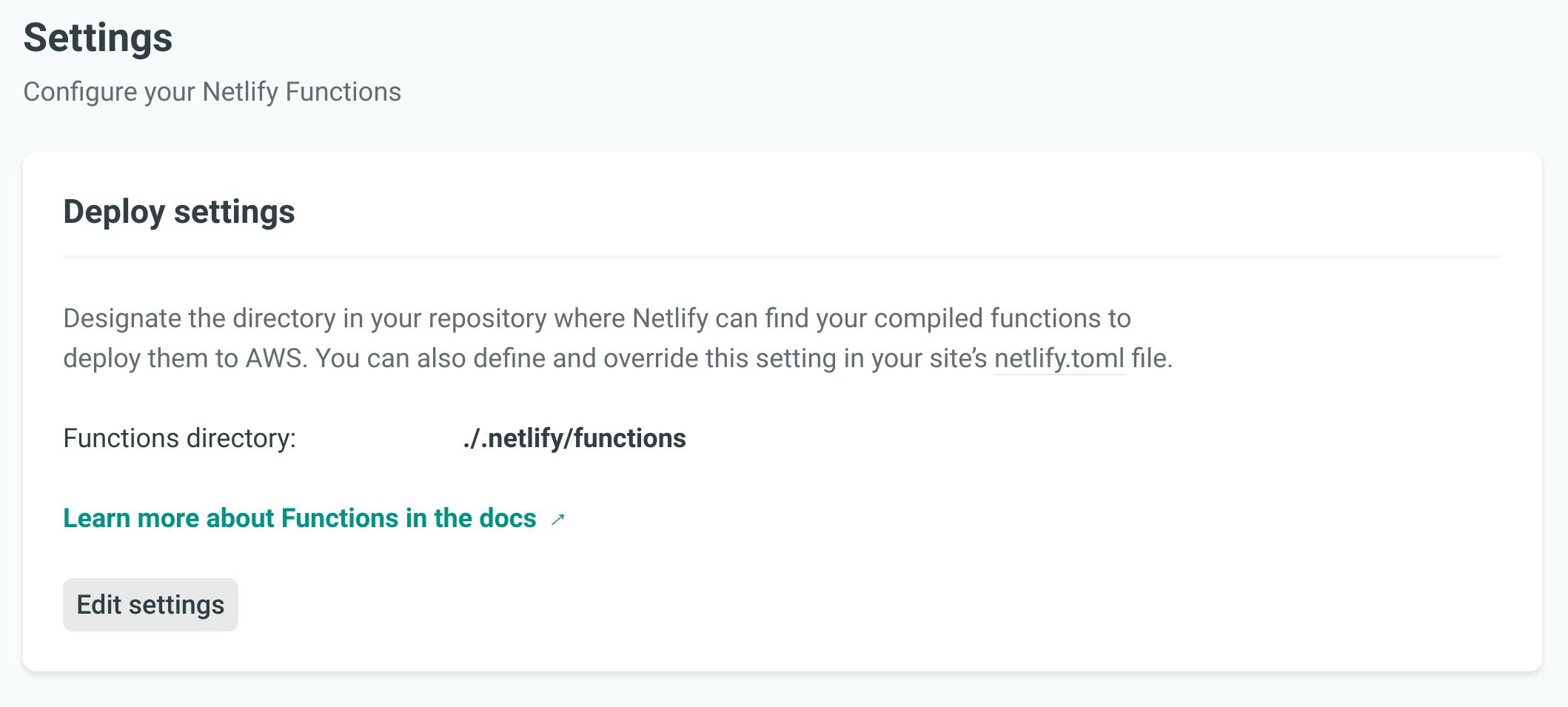 Netlify Functions settings tab