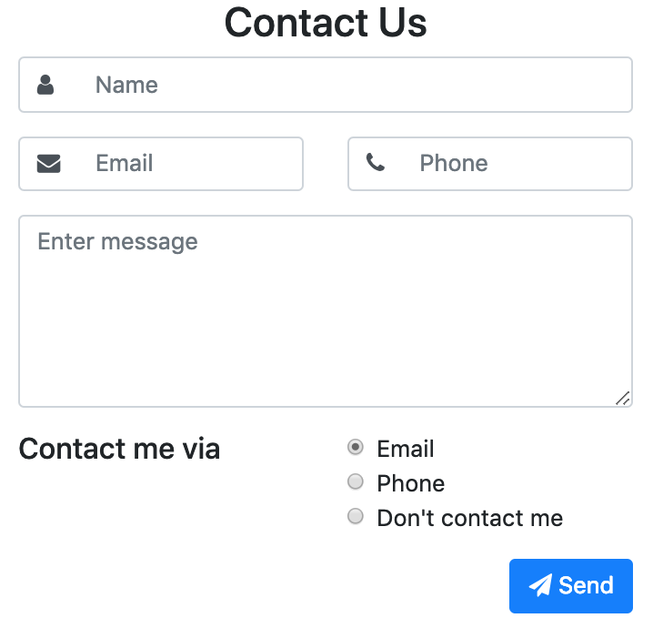 Contact form with radio buttons