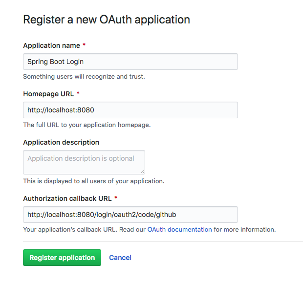 GitHub Client Registration