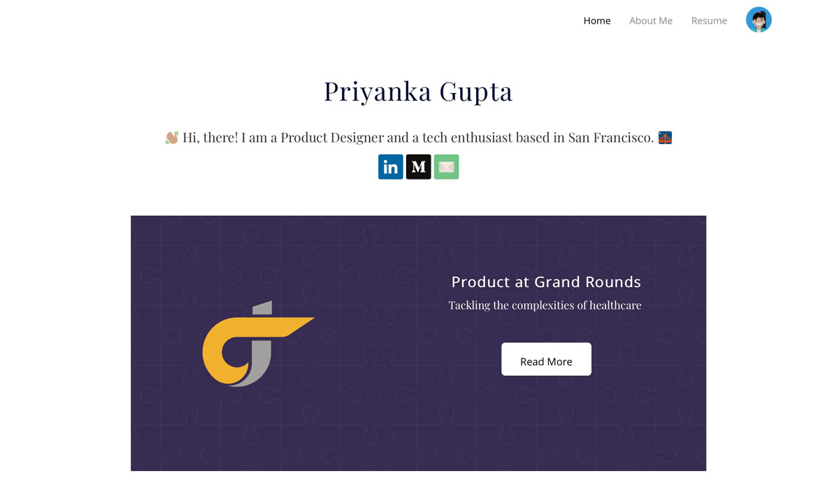 The homepage of Priyanka Gupta's UX design portfolio
