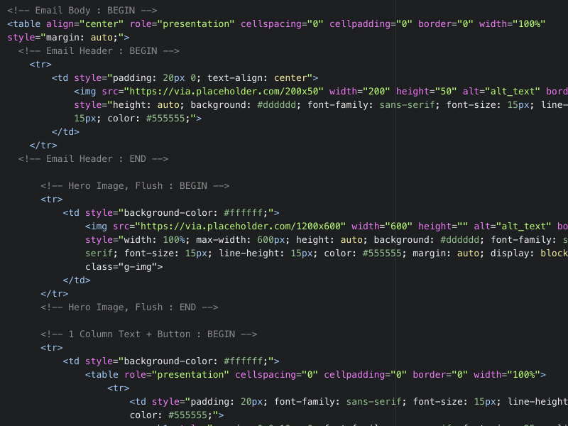 Screenshot of email code in a code editor.
