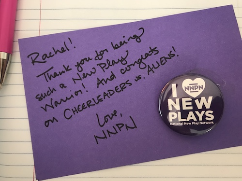 """""""I heart new plays"""" NNPN button."""