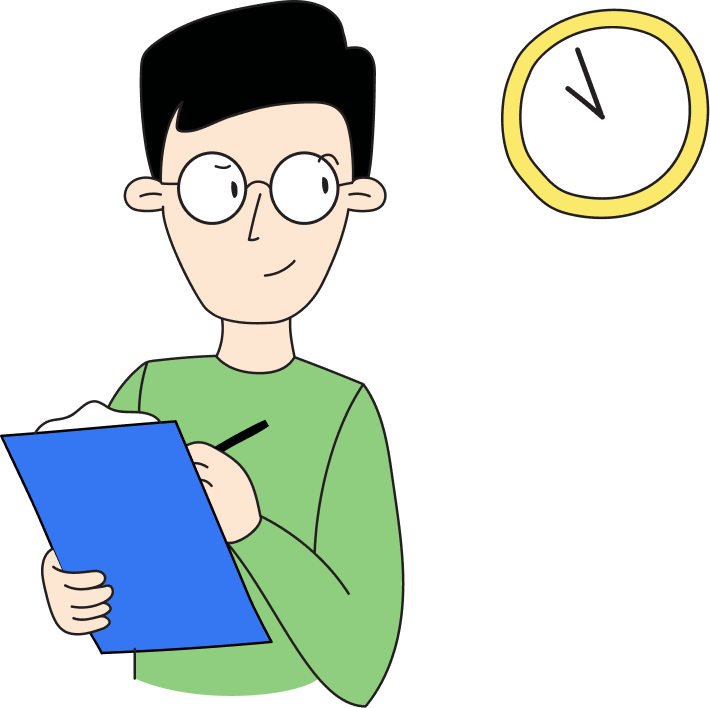Engineer with a checklist glancing at a clock