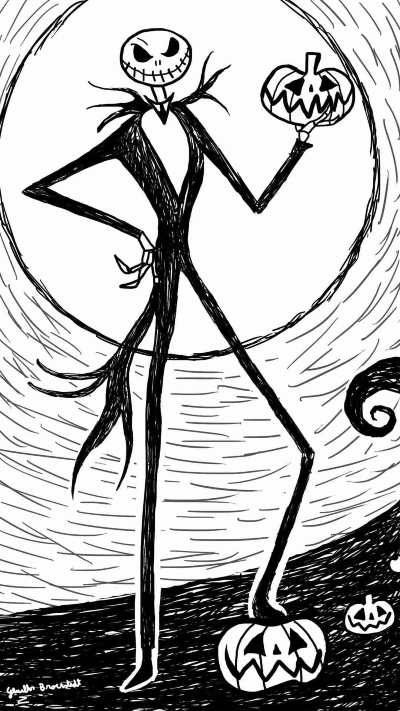 Jack Skellington with Pumpkin Sketch