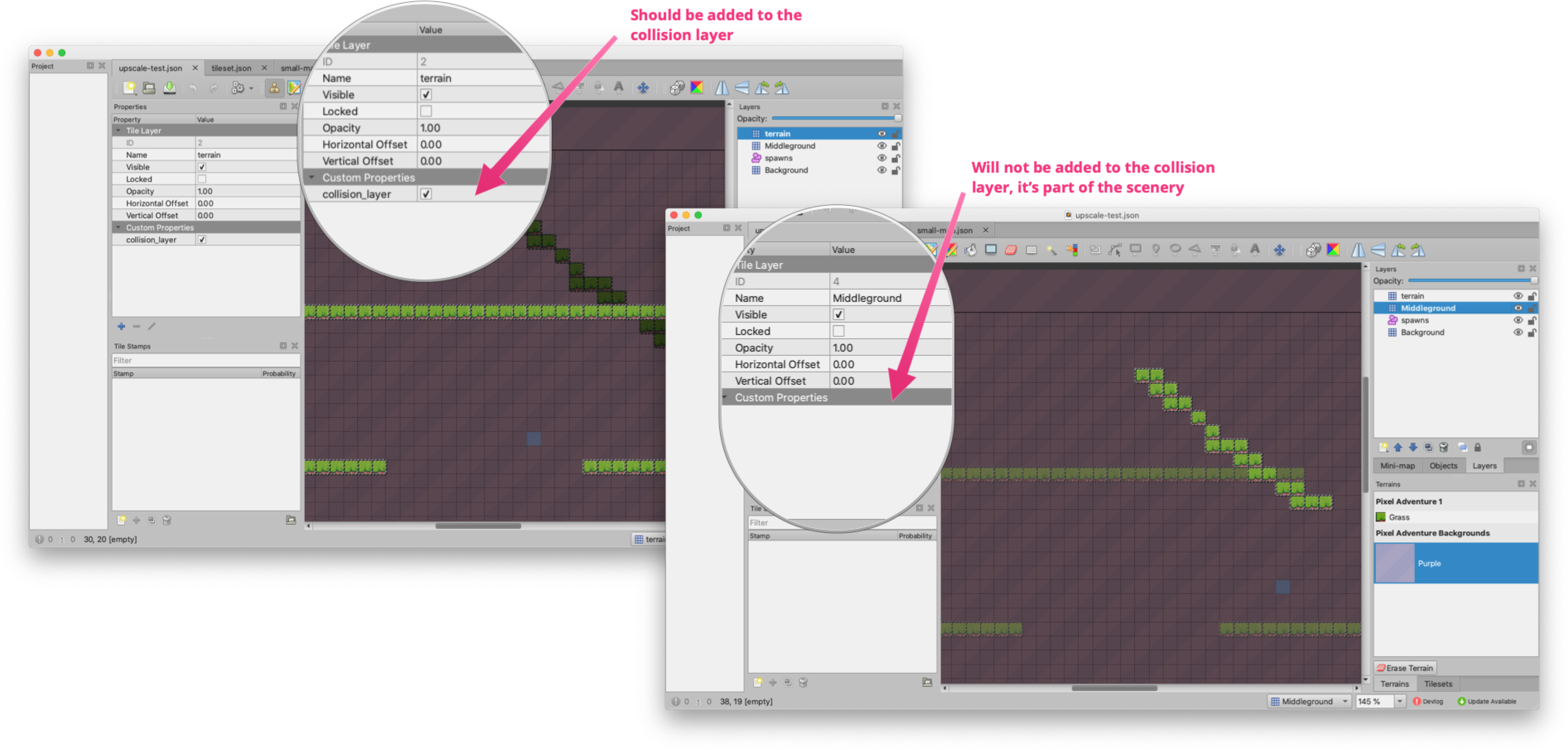 A screenshot that shows how the collision_layer is set as a custom property on map layers
