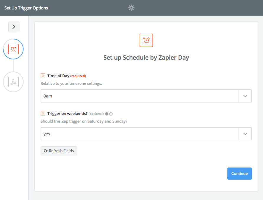 Schedule every day with Zapier