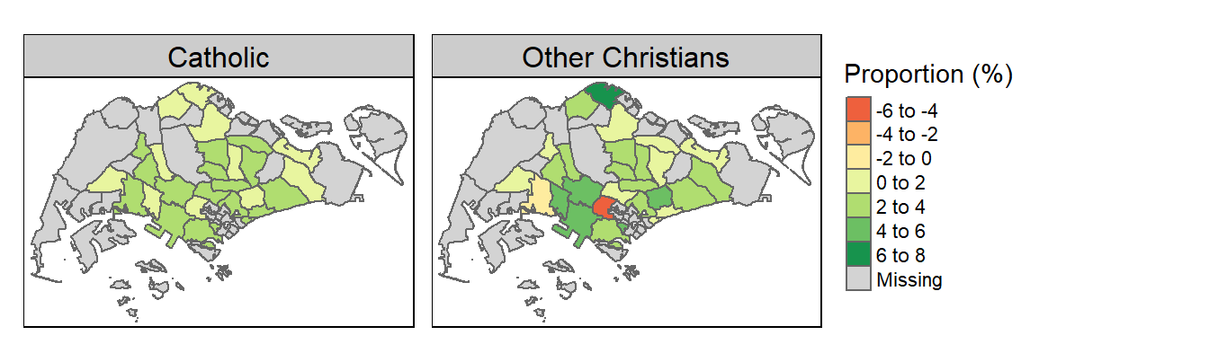 Change in Catholic / Other Christians Share (2000-2015)