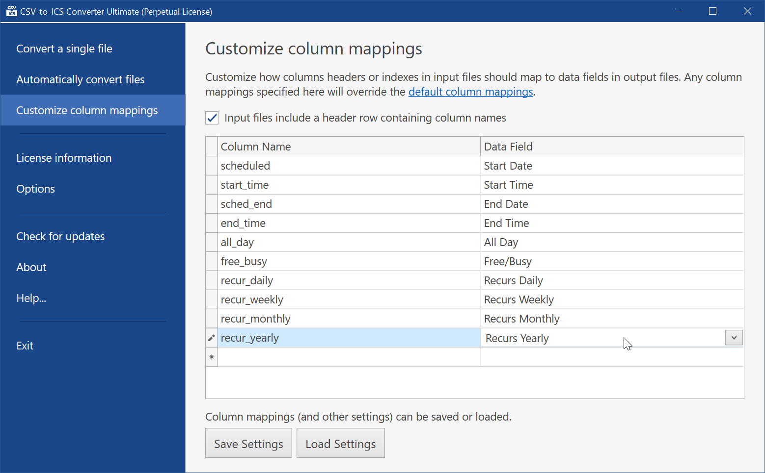 Column headers or indexes can be mapped to data fields in output ICS files.