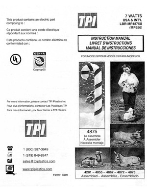 TPI Plastics Candy Cane #4875, Camel #4201, Shepherd With Lambs #4855, 4867, Donkey #4872, Ox #4873 Instruction Manual preview