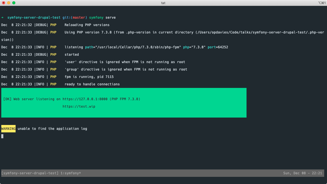 A screenshot of a terminal window running a Drupal project with the Symfony local server