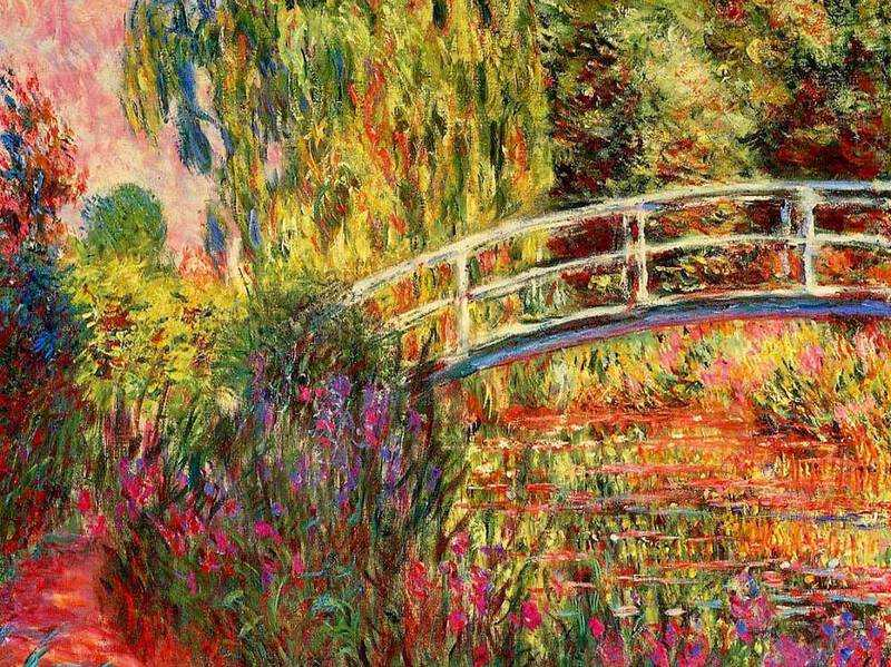 Monet installed the Japanese Bridge into his Giverny gardens in 1891 and thereafter painted it a number of times.