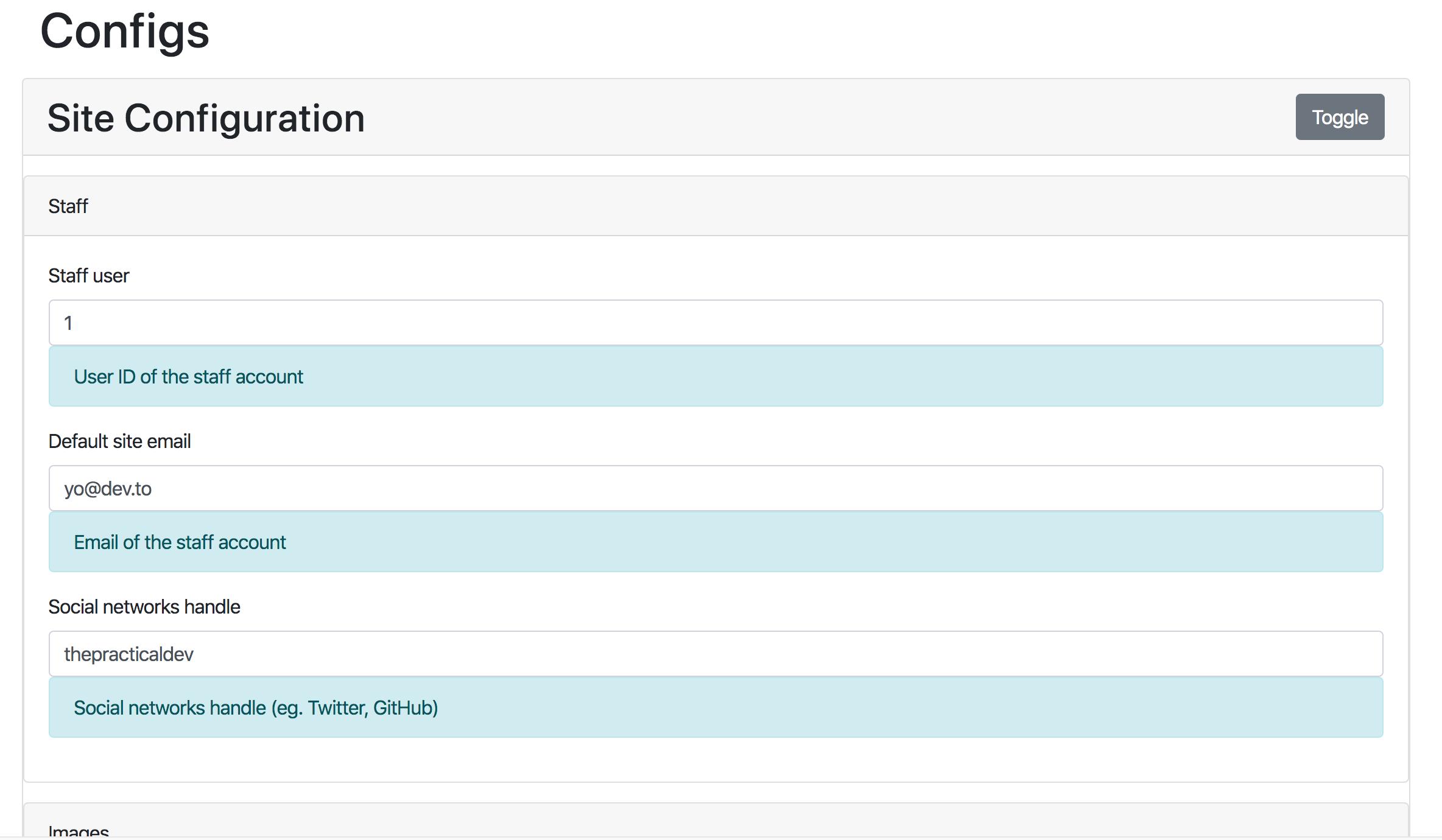 Screenshot of env variable admin interface