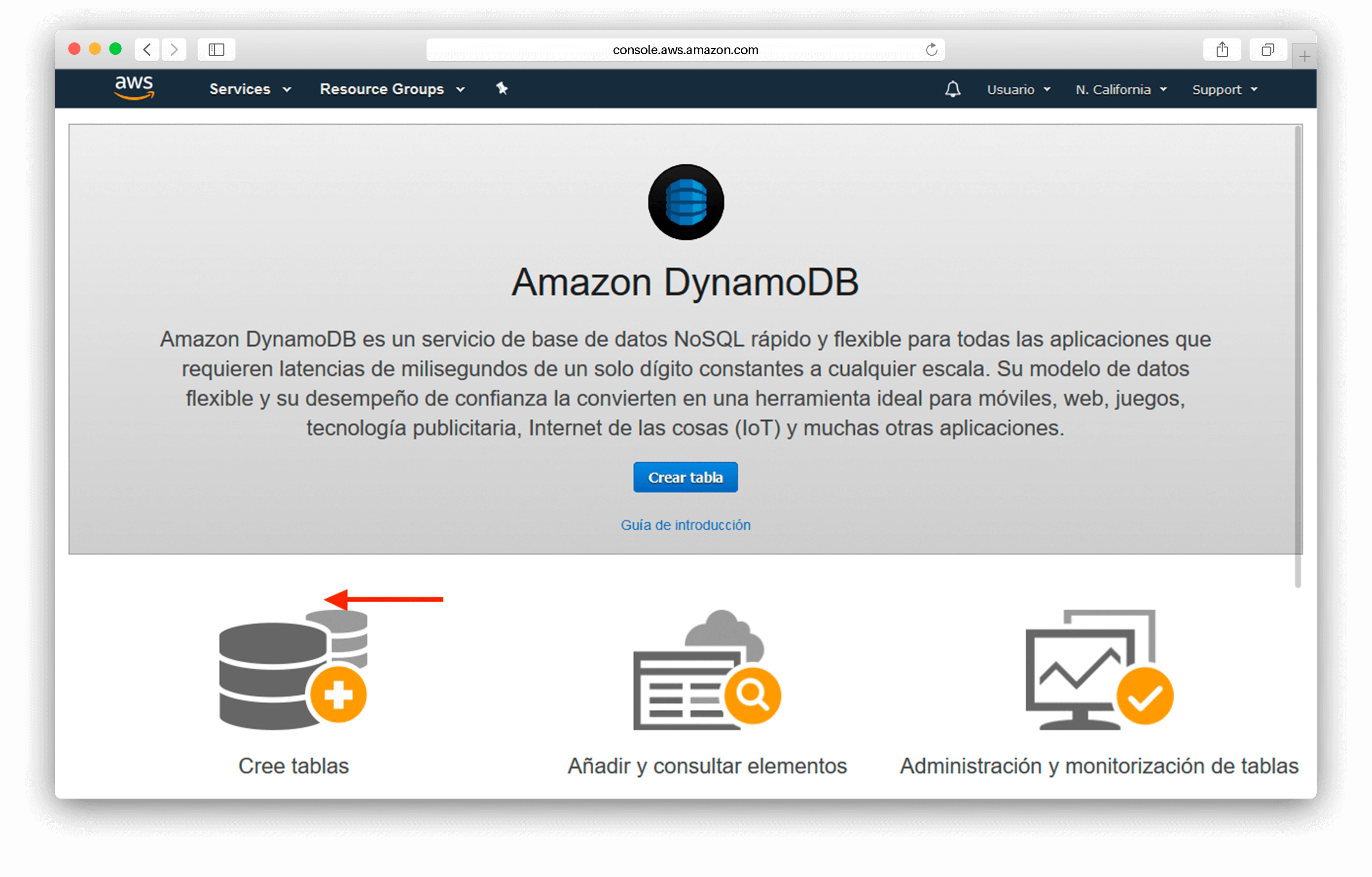 Captura de crear tabla de DynamoDB