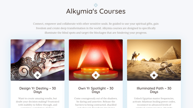 Screenshot of Alkymia's member courses